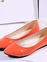 Femme Ballerines Confort Cuir Verni Automne Décontracté Confort Talon Plat Orange Jaune Bleu Rose Corail Plat
