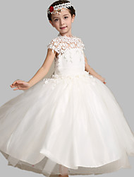 Ball Gown Tea-length Flower Girl Dress - Satin / Tulle Short Sleeve Jewel with Appliques / Lace