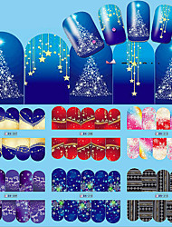12pcs Nail Art Christmas Water Transfer Tips Snowflake Blue Full Wraps Patterns Temporary Sticker Nails