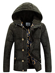 Men's Regular Padded Coat,Simple Casual/Daily Solid-Polyester Polypropylene Long Sleeve Hooded Green