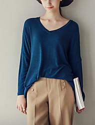 Damen Solide Sexy / Einfach / Niedlich Ausgehen / Lässig/Alltäglich T-shirt,V-Ausschnitt Langarm Blau / Braun Baumwolle / Polyester