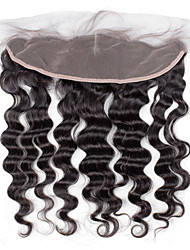 4x13 Closure Loose Deep Wave Brazilian Human Hair Closure Free Middle 3 part Light Brown Swiss Lace Frontal