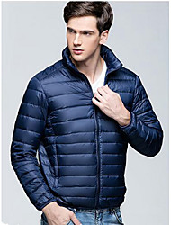 Men's Regular Down Coat,Street chic Casual/Daily Solid-Nylon White Duck Down Long Sleeves Stand