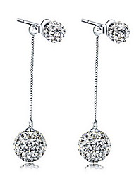 Fine S925 Silver AAA Crystal Ball Drop  Earrings