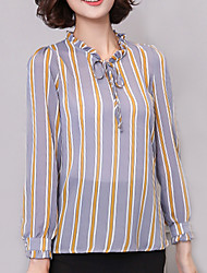 Women's Plus Size / Going out / Casual/Daily Street chic Spring / Fall BlouseStriped Stand Long Sleeve Gray