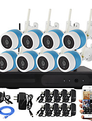YanSe® 8CH Wireless 1.0MP IR Camera NVR Kit WiFi IP Camera IP66 Waterproof CCTV System 720P P2P