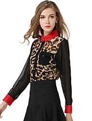 Women's Casual/Daily Simple Spring / Fall Shirt,Galaxy / Leopard Standing Collar Long Sleeve White / Yellow Polyester Medium