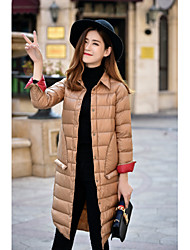Women's Long Down Coat,Simple Casual/Daily Solid-Polyester White Duck Down Long Sleeve Pink / Red / Black / Brown / Green