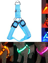 Dog Harness LED Lights / Adjustable/Retractable / Safety Solid Red / Green / Blue / Pink / Yellow / Orange Nylon