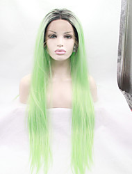 Sylvia Synthetic Lace front Wig Black Roots Green Hair Ombre Hair Heat Resistant Long Silky Straight Synthetic Wigs