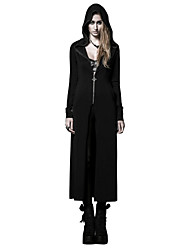 PY-046 Women's Punk & Gothic Long Cardigan Solid Black Hooded Long Sleeve jacket
