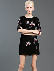 GATHER BEAUTY Women's Going out Chinoiserie Sheath DressEmbroidered Round Neck Above Knee  Length Sleeve Blue / Black Cotton / Polyester FallHigh