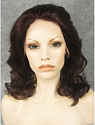 16''fashionreddish onda média peruca dianteira do laço sintético imstyle para as mulheres negras de fibra de alta resistência ao calor