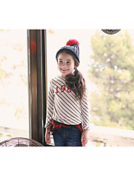 Girl's Casual/Daily Striped TeeCotton Fall Beige