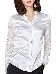 Spring Fall Women's Go out Temperament Slim Blouse Solid Color Patchwork V Neck Lace Long Sleeve