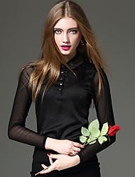 Feminino Camiseta Casual / Formal / Trabalho Sensual / Simples / Moda de Rua Primavera / Outono,Sólido / Patchwork Azul / PretoAlgodão /