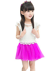 Girl's Casual/Daily Solid Skirt,Cotton / Polyester Summer Purple / White