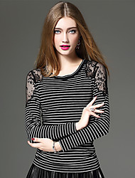 XSSL Women's Going out / Casual/Daily / Party/Cocktail Sexy / Street chic / Sophisticated Fall / Winter T-shirtStriped / EmbroideredRound