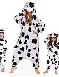 Kigurumi Pajamas Milk Cow Leotard/Onesie Festival/Holiday Animal Sleepwear Halloween White Animal Print Velvet Mink Kigurumi ForUnisex /