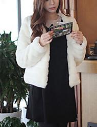 Manteau en Fourrure Femme,Couleur Pleine Sortie / Décontracté / Quotidien simple Manches Longues Col Arrondi Multi-couleurFourrure de