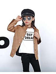 Girl Casual/Daily Solid Trench Coat,PU Fall Long Sleeve