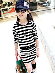 Girl's Casual/Daily Striped DressCotton Fall Black / Pink