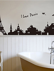 I Love Paris City Eiffel Tower Architecture Wall Stickers Fashion Living Room Bedroom Wall Decals