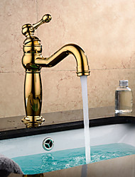 Contemporary / Modern Centerset Widespread with  Ceramic Valve Single Handle One Hole for  Ti-PVD , Bathroom Sink Faucet
