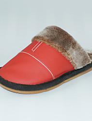 Feminino-Chinelos e flip-flops-Chanel-Rasteiro-Vermelho-Pele-Casual