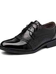 Men's Oxfords Spring / Summer / Fall / Winter Comfort Leather Casual Low Heel Lace-up Black Walking
