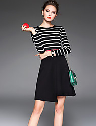 Women's Casual/Daily Simple Sheath DressStriped Round  Black Polyester Fall / Winter Mid Rise Inelastic Medium