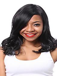 longs cheveux couleur noir perruques synthétiques ondulées pour les femmes