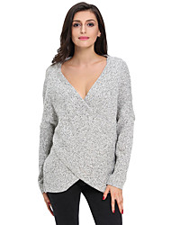 Women's Long Sleeve Chunky Cross Wrap V Neck Tunic Pullover Sweater