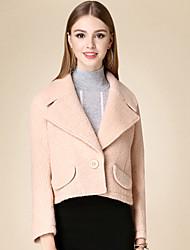 Женский На каждый день Однотонный Пальто Лацкан с тупым углом,Очаровательный Зима Розовый Длинный рукав,Хлопок