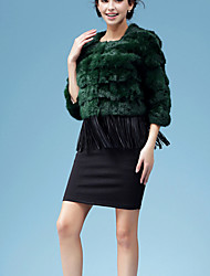 Women's Casual/Daily / Work Vintage / Simple Fur Coat,Solid Round Neck ¾ Sleeve Fall / Winter Green Rabbit Fur / Faux Fur