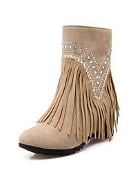 Women's Pull On High Heels Frosted Fringed Low Top Boots