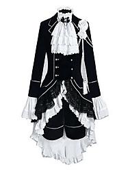 Вдохновлен Тёмный дворецкий Ciel Phantomhive Аниме Косплэй костюмы Косплей Костюмы Контрастных цветов Пэчворк Длинный рукав Жилетка