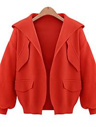 Dames Eenvoudig Herfst / Winter Jack,Casual/Dagelijks Capuchon-Lange mouw Zwart / Oranje Effen Medium Katoen / Polyester