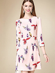 Women's Casual/Daily Simple A Line Dress,Animal Print Round Neck Above Knee ¾ Sleeve Pink Cotton Fall High Rise Inelastic Thin