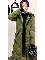 Women's Long Down Coat,Simple Plus Size / Casual/Daily Solid-Cotton / Others Without Filling Material Long Sleeve Red / White / Black