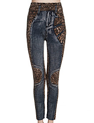 Women's Leopard / Color Block Gray Skinny Pants,Sexy Summer
