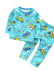Boy's Casual/Daily Print Clothing Set / SleepwearCotton Spring / Fall Blue