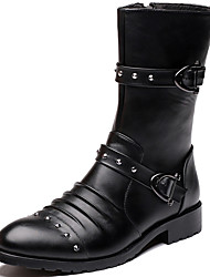 Men's Boots Spring/Fall/Winter Cowboy / Western Boots/ Combat Boots Synthetic Party & Evening/Casual Chunky Heel Black