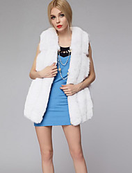 Women's Plus Size Street chic Fur Coat,Solid Hooded Sleeveless Fall / Winter Pink / White / Black / Gray Faux Fur Thick