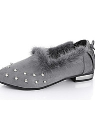 Women's Heels Winter Others Microfibre Office Casual Low Heel Beading / Lace-up Black / Green / Gray Walking