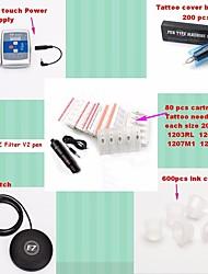 Komplette Tattoo Kit 1 x Drehtattoomaschine für Umrißlinien und Schattierung 1 Tattoo-Maschinen LED-StromversorgungTinten geliefert