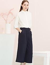 Mulheres Calças Simples Perna larga Raiom / Poliéster / Elastano Sem Elasticidade Mulheres