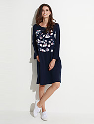 Women's Casual/Daily Street chic Loose Thin Dress,Floral Knee-length Long Sleeve Blue Cotton Fall