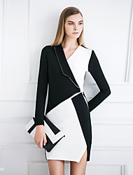 MASKED QUEEN Women's Going out Street chic Sheath DressColor Block V Neck Above Knee Long Sleeve Black