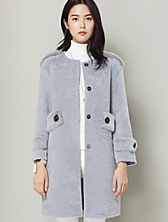 Xuebao Women's Casual/Daily Simple Fur CoatSolid Round Neck Long Sleeve Winter Gray Others Thick